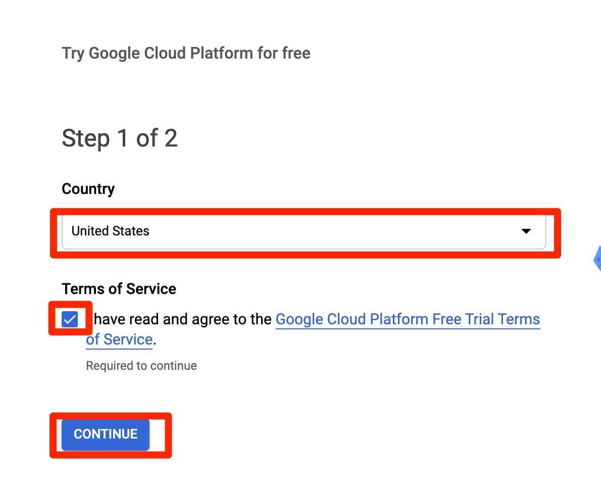 Google billing account - confirm country