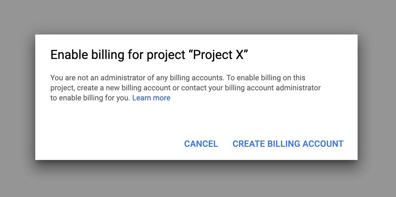 Google maps api - create billing account