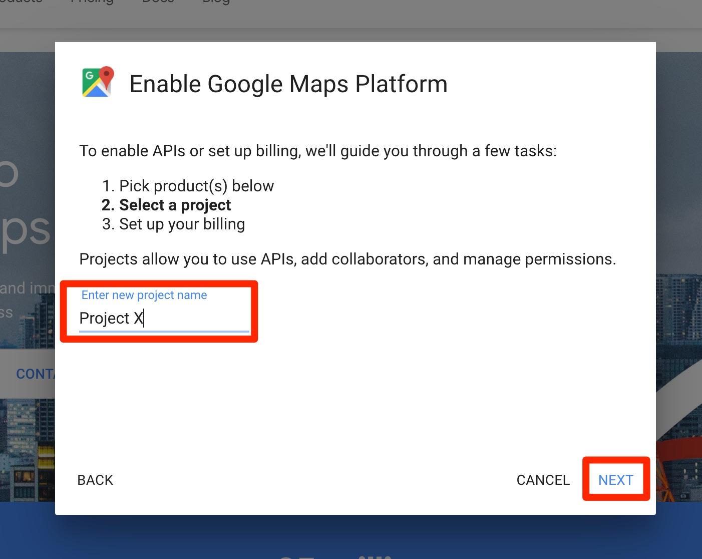 google maps api key create project popup