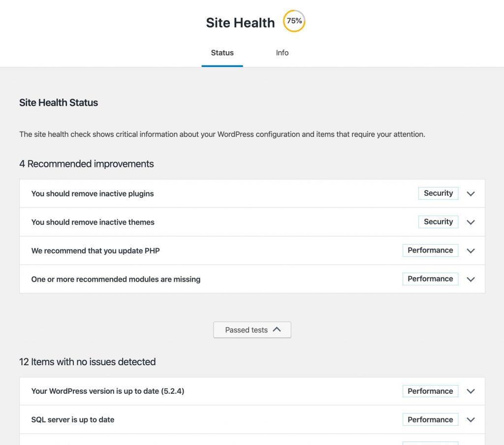 Wordpress site health check