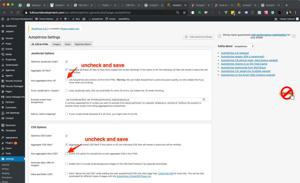 Autoptimize uncheck aggregate inline css and js