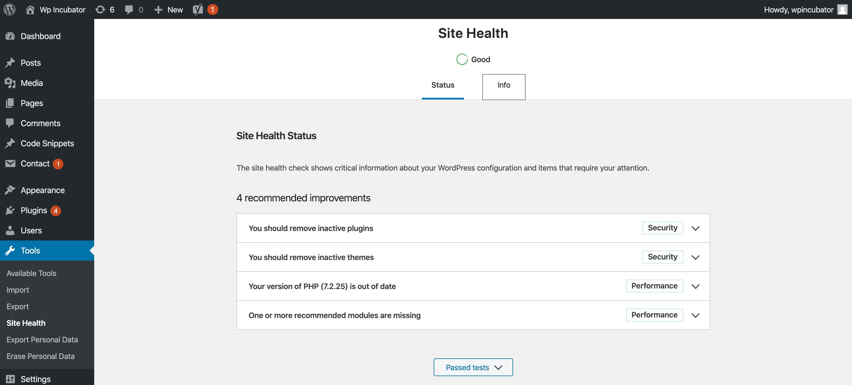 WP Incubator site health check wp 5.3