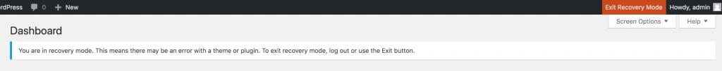 Wordpress admin recovery notification